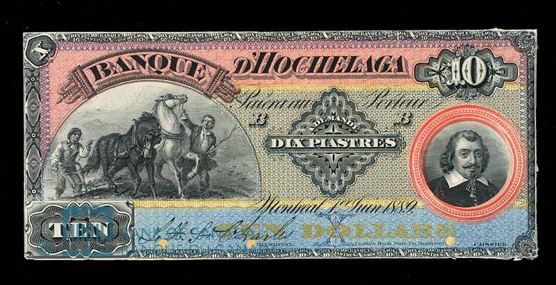 Canada, Banque d'Hochelaga, 10 piastres : June 1, 1889