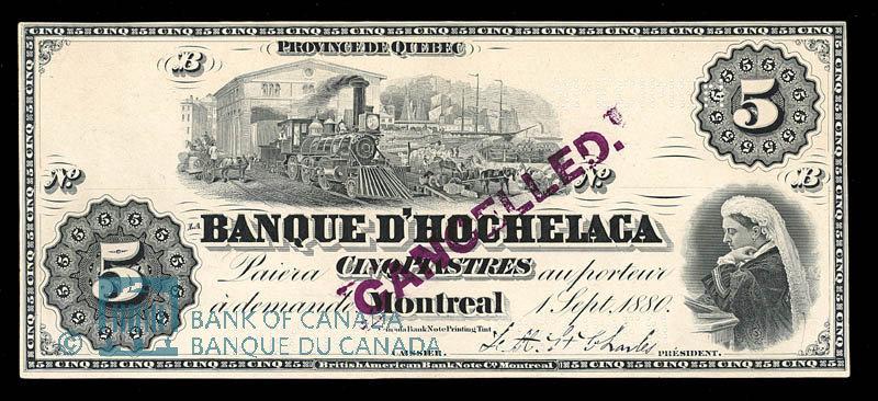 Canada, Banque d'Hochelaga, 5 piastres : September 1, 1880