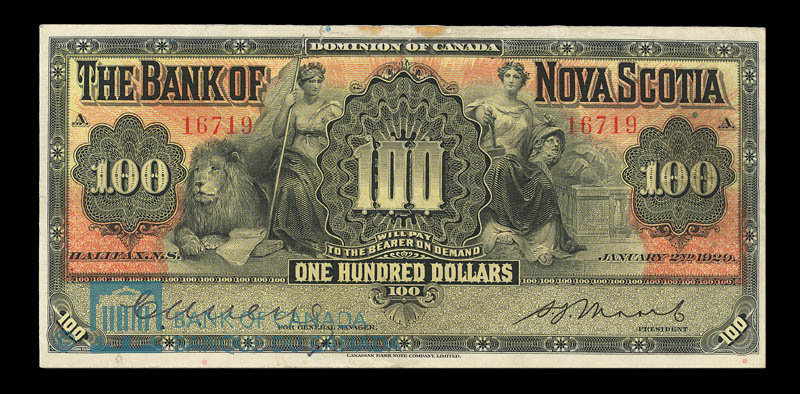 Canada, Bank of Nova Scotia, 100 dollars : January 2, 1929