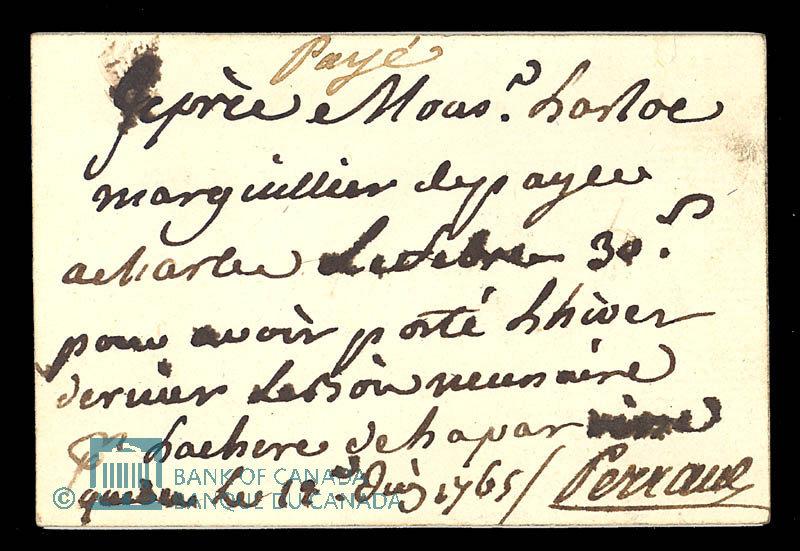 Canada, unknown, 30 sols : July 14, 1765