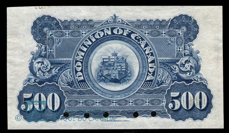 Canada, Dominion of Canada, 500 dollars : July 2, 1896