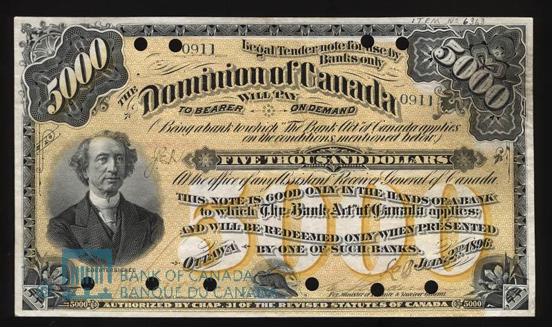 Canada, Dominion of Canada, 5,000 dollars : June 2, 1896