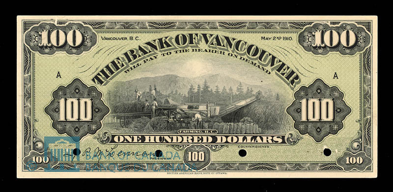 Canada, Bank of Vancouver, 100 dollars : May 2, 1910