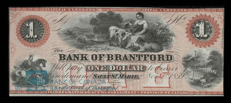 Canada, Bank of Brantford, 1 dollar : November 1, 1859