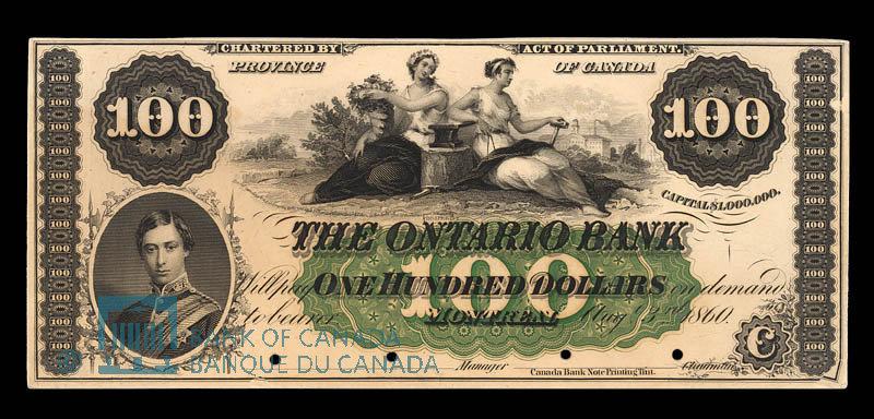 Canada, Ontario Bank, 100 dollars : August 3, 1860