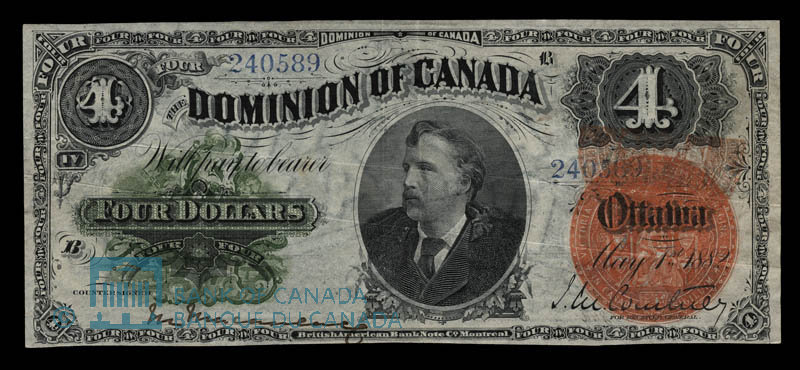 Canada, Dominion of Canada, 4 dollars : May 1, 1882