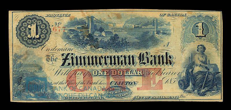 Canada, Zimmerman Bank, 1 dollar : 1859