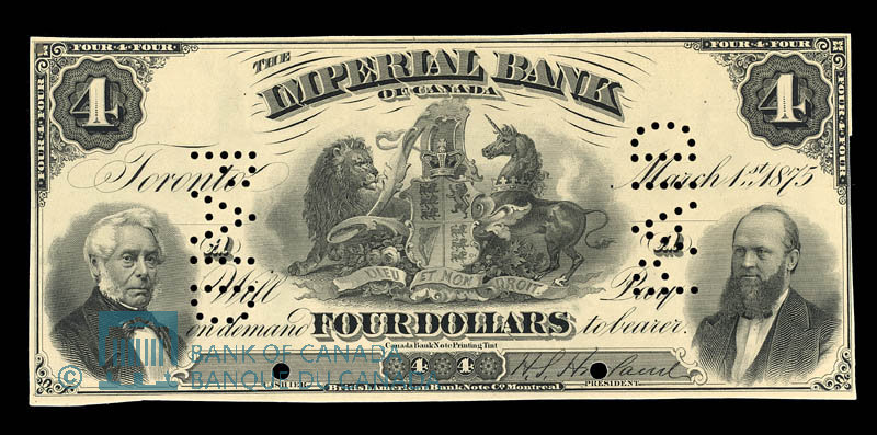 Canada, Imperial Bank of Canada, 4 dollars : March 1, 1875