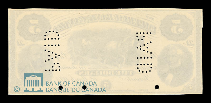 Canada, Imperial Bank of Canada, 5 dollars : March 1, 1875