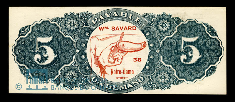 Canada, Wm. Savard, no denomination : 1915