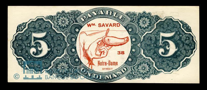 Canada, Wm. Savard, no denomination : 1915
