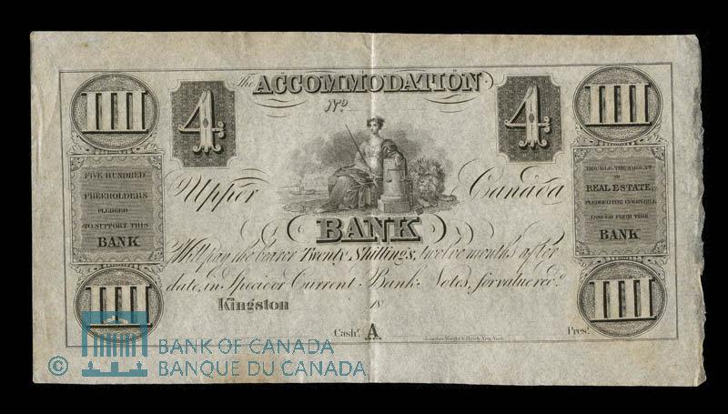 Canada, Accomodation Bank, 4 dollars : 1837