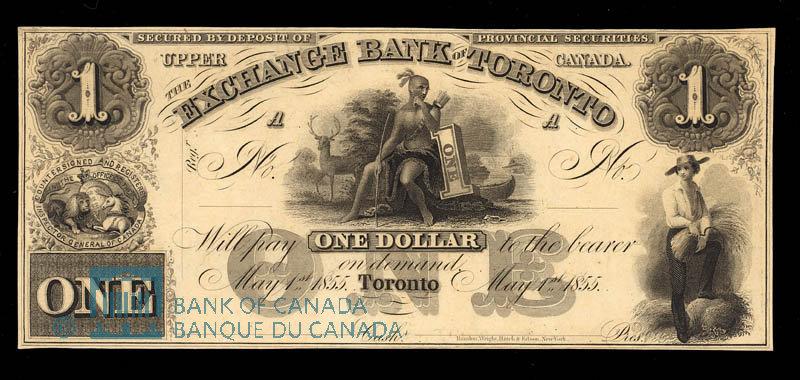 Canada, Exchange Bank of Toronto, 1 dollar : May 1, 1855