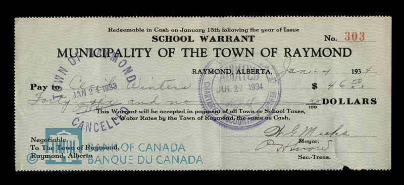 Canada, Town of Raymond, 46 dollars : January 4, 1934