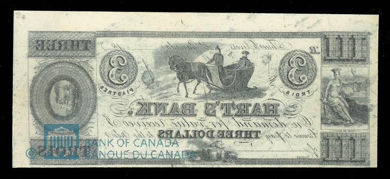 Canada, Hart's Bank, 3 dollars : 1839