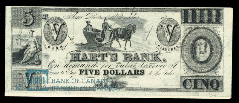Canada, Hart's Bank, 5 dollars : 1839
