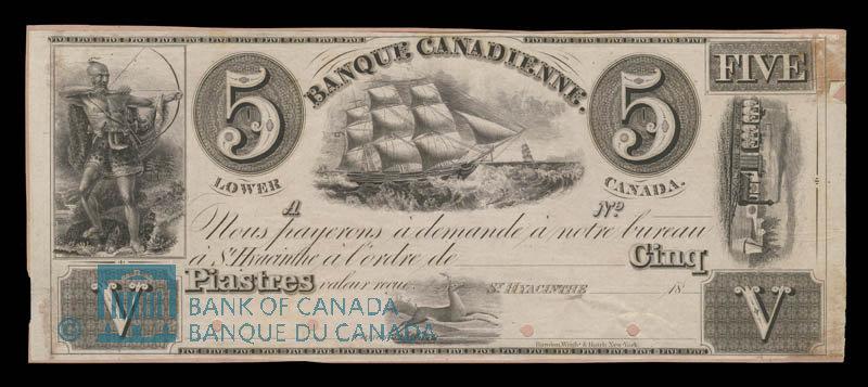 Canada, Banque Canadienne, 5 dollars : 1838