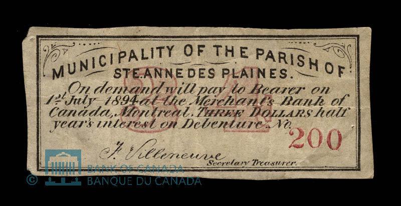 Canada, Parish of Ste. Anne des Plaines, 3 dollars : January 1, 1878