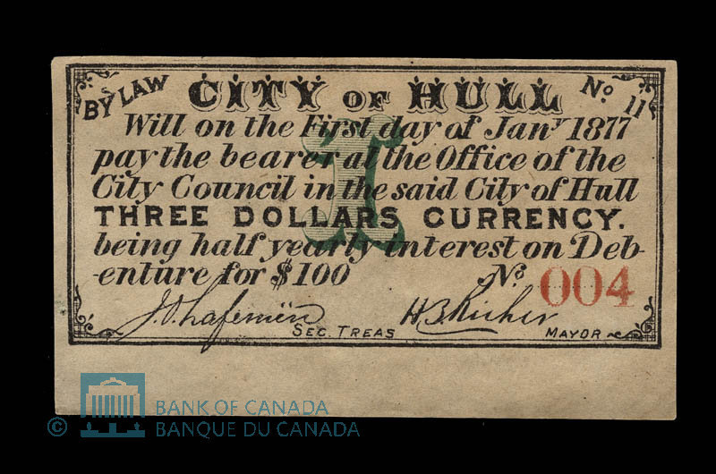 Canada, City of Hull, 3 dollars : January 1, 1877