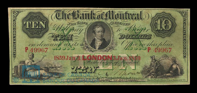 Canada, Bank of Montreal, 10 dollars : January 3, 1859