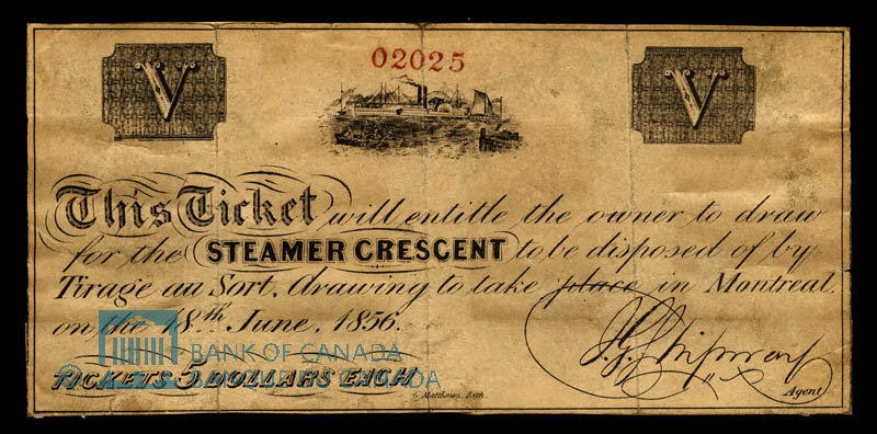 Canada, Steamer Crescent, no denomination : June 28, 1856