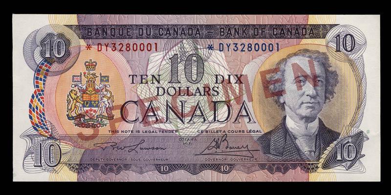 Canada, Bank of Canada, 10 dollars : 1971