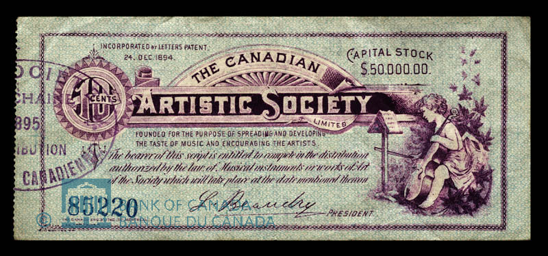 Canada, Canadian Artistic Society Limited, no denomination : April 17, 1895