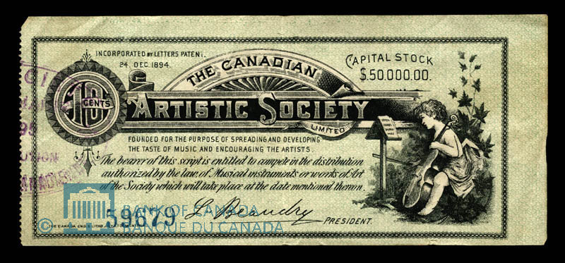 Canada, Canadian Artistic Society Limited, no denomination : June 5, 1895