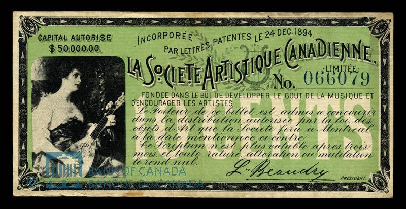 Canada, Canadian Artistic Society Limited, no denomination : March 7, 1895