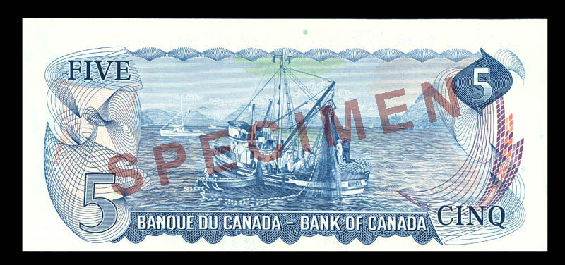 Canada, Bank of Canada, 5 dollars : 1972