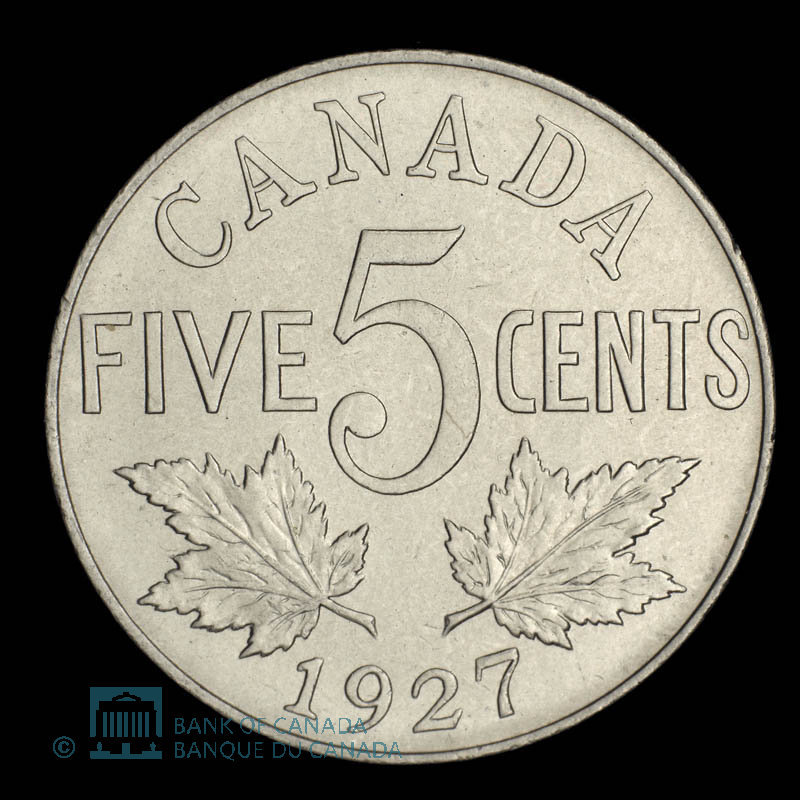 Canada, George V, 5 cents : 1927