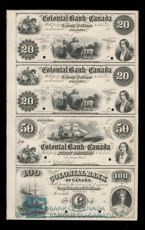 Canada, Colonial Bank of Canada, 20 dollars : 1863
