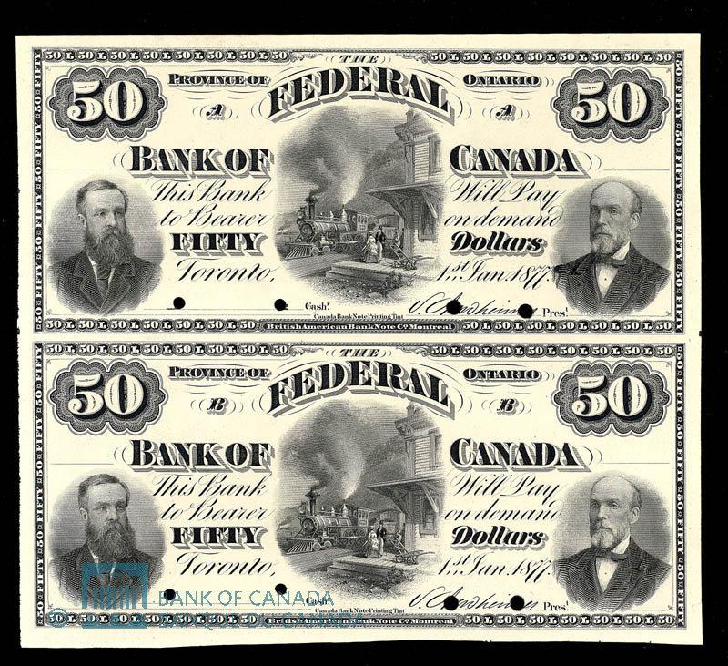 Canada, Federal Bank of Canada, 50 dollars : January 1, 1877