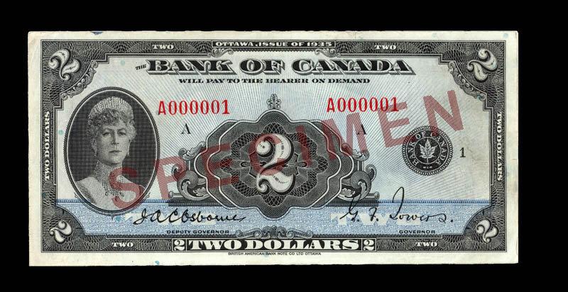 Canada, Bank of Canada, 2 dollars : 1935