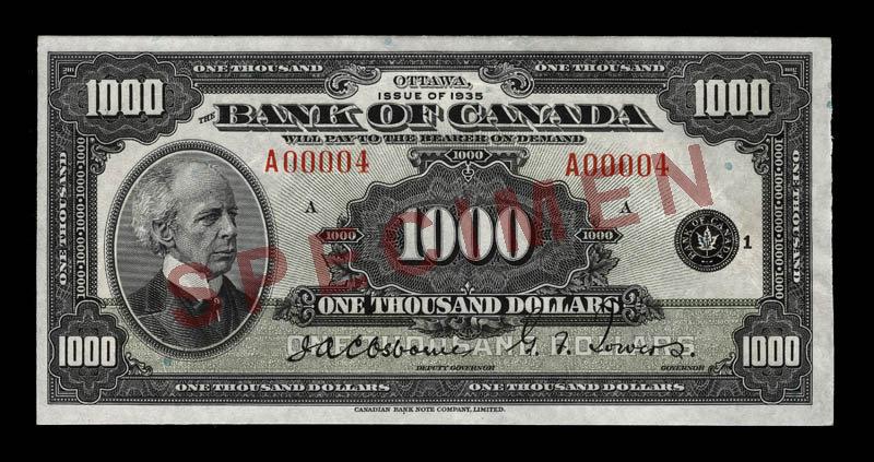 Canada, Bank of Canada, 1,000 dollars : 1935