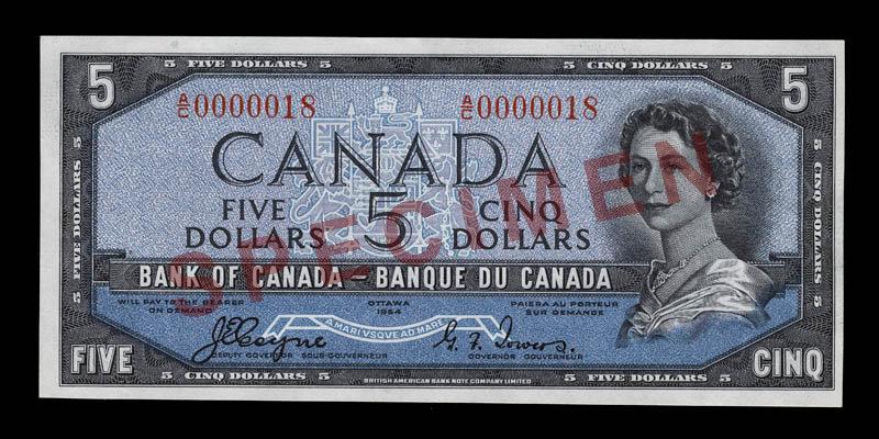 Canada, Bank of Canada, 5 dollars : 1954