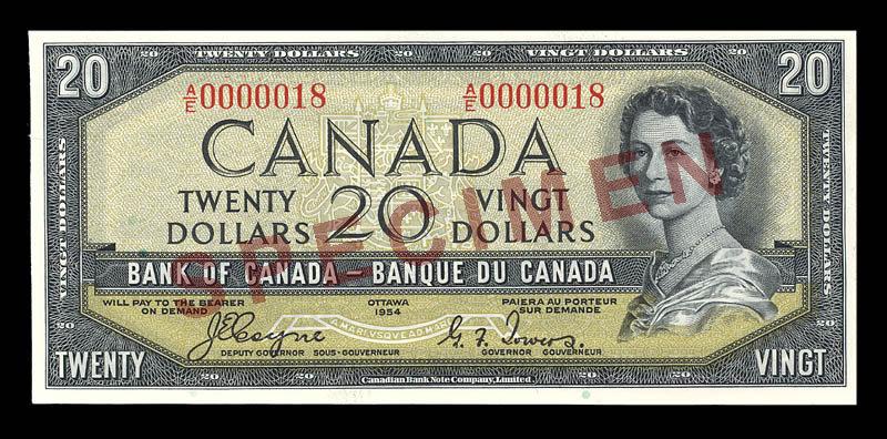 Canada, Bank of Canada, 20 dollars : 1954