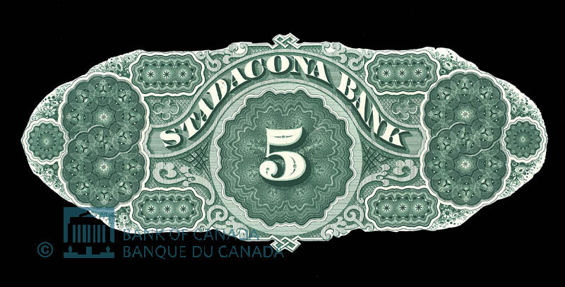 Canada, Stadacona Bank, 5 dollars : April 2, 1874