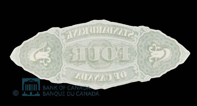 Canada, Standard Bank of Canada, 4 dollars : November 1, 1876