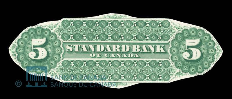 Canada, Standard Bank of Canada, 5 dollars : November 1, 1876