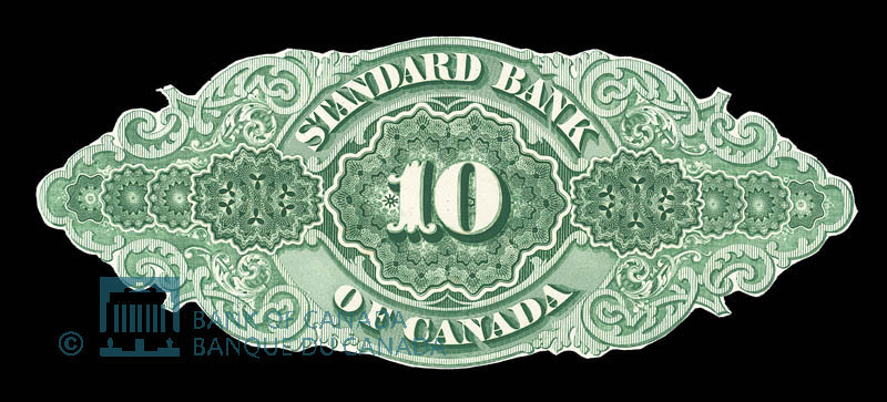 Canada, Standard Bank of Canada, 10 dollars : November 1, 1876