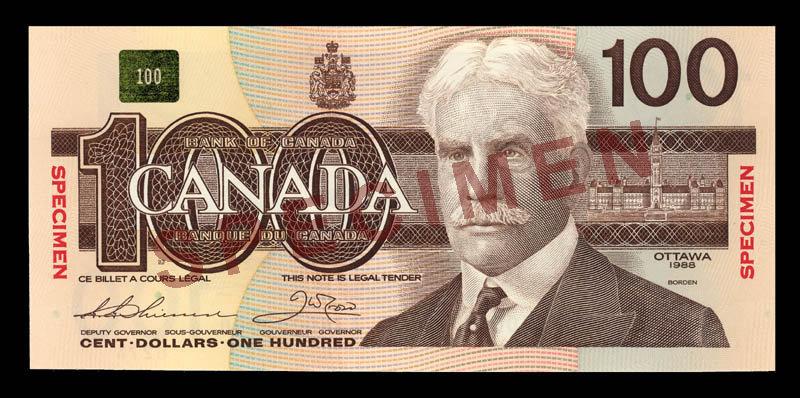 Canada, Bank of Canada, 100 dollars : 1988
