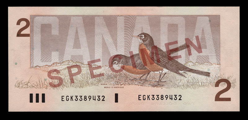 Canada, Bank of Canada, 2 dollars : 1986