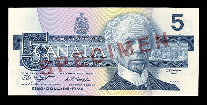 Canada, Bank of Canada, 5 dollars : 1986