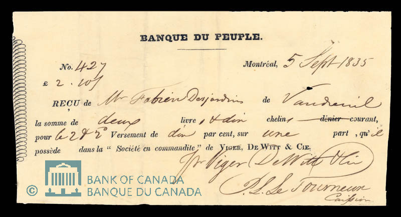 Canada, Banque du Peuple (People's Bank), 2 pounds, 10 shillings : September 5, 1835