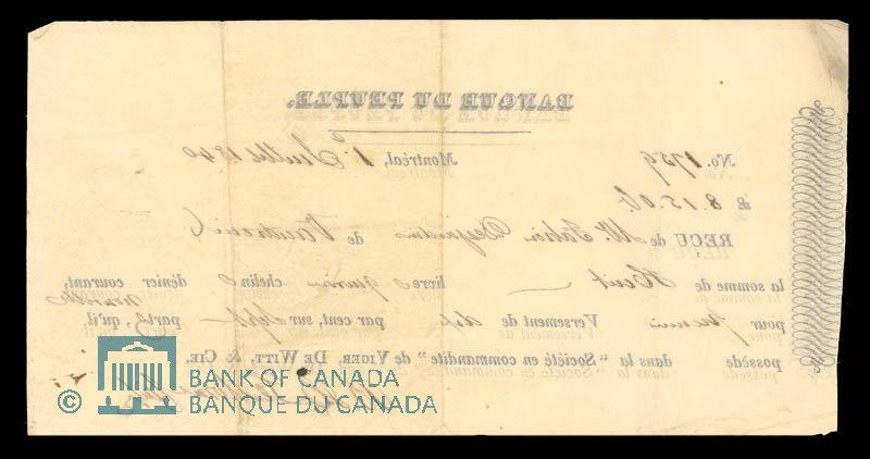 Canada, Banque du Peuple (People's Bank), 8 pounds, 15 shillings : July 1, 1840