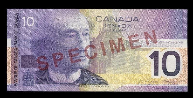 Canada, Bank of Canada, 10 dollars : 2001
