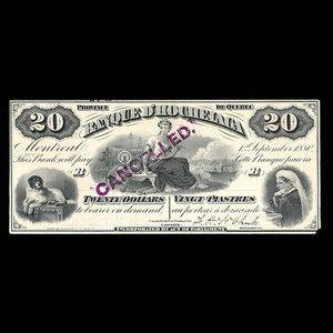 Canada, Banque d'Hochelaga, 20 dollars : September 1, 1880