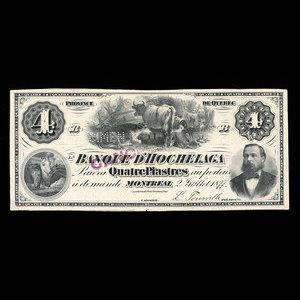Canada, Banque d'Hochelaga, 4 piastres : July 2, 1877