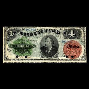 Canada, Dominion of Canada, 4 dollars : May 1, 1882